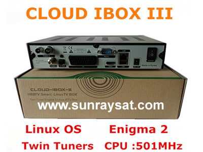 Cloud ibox 3 Twin Tuner DVB S2+DVB T2/C Full HD Decoder Linux Enigma 2 Receiver
